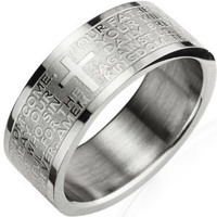 Stainless Steel English Lord's Prayer 8mm Band Ring - Men