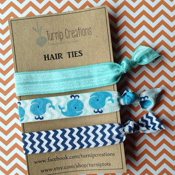 FOE Hair Ties Whale Beach Navy Chevron Sea Foam Yoga bands pony holder hair ties Party Favor Bridesmaid