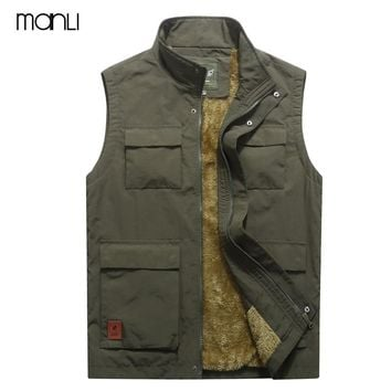MANLI Brand 2018 Autumn Winter Men Coat Warm Sleeveless Jacket Multi Pocket Vest Men Coat Fleece Army Green Waistcoat Jeep Vest