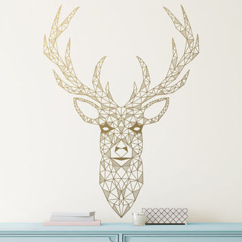 Geometric Deer Decal - Large Wall Decal, Gold Vinyl Decals, Silver Decals, Geometric Decor, Unique Gift Idea, Home Decor, Wall Art
