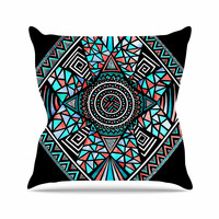 """Pom Graphic Design """"Geo Glass"""" Teal Black Outdoor Throw Pillow"""