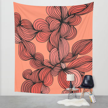 Retro Orange Wall Tapestry by DuckyB (Brandi)