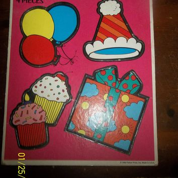 vintage 1992 fisher price birthday 4 piece puzzle balloons cupcake present hat