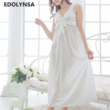 New Arrivals Lace Nightgowns Soft Home Dress Vintage Sleep Shirts Sexy Nightwear Spaghetti Strap Solid Nightgown Female #H164