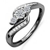 0.50 Carat (ctw) Black Rhodium Plated 18K White Gold Round Diamond Swirl 3 Stone Ring 1/2 CT
