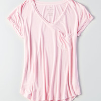 AEO Soft & Sexy V-Neck Favorite T-Shirt, Light Pink