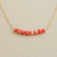 Coral beaded bar gold filled necklace - minimal delicate jewelry by AmiesAmies