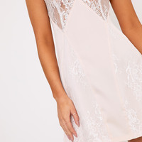 Aliniah Nude Satin Lace Cami Dress