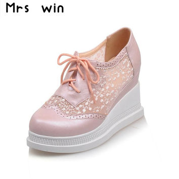 Women wedges shoes woman platforms shoes woman 2016 spring Autumn Shoes women Pumps high heels lace up casual shoes