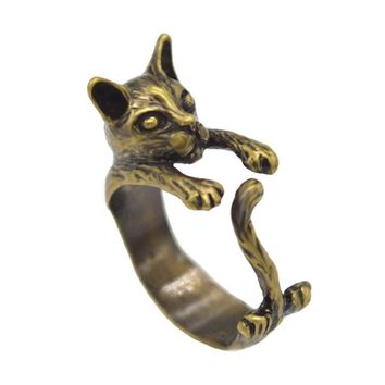 Handmade Cute Animal Cat Ring with Wrap Around Tail Ring