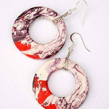 Large red and purple boho earrings with abstract handpainted patterns. Unique hippie jewelry.