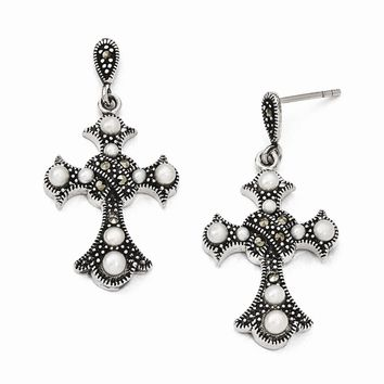 Sterling Silver Marcasite and FW Cultured Pearl Cross Earrings