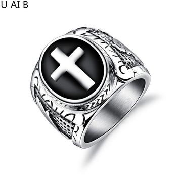 New Fashion Brand Jewelry Tide men retro titanium steel cross ring men's ring punk domineering wrench Party Ring