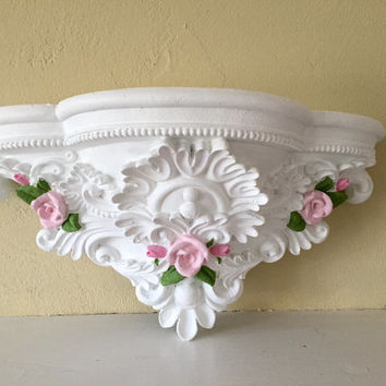 Large ornate shelf, white with pink roses