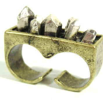 Rough Crystal Double Ring Size 6 Silver Tone Metal Quartz RI10 Fashion Jewelry