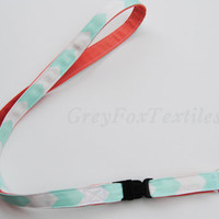 ID lanyard with detachable key fob, id badge coral, mint, chevron, emerald, navy, turquoise