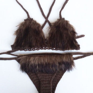 Faux dark brien fur crochet bikini festival set