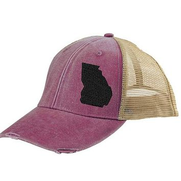 Georgia  Hat - Distressed Snapback Trucker Hat - off-center state pride hat - Pick your colors