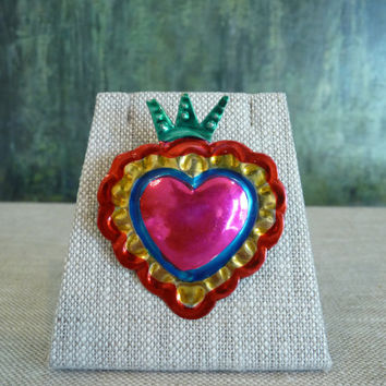 Vintage Mexican Tin Milagro Heart Pin / Brooch