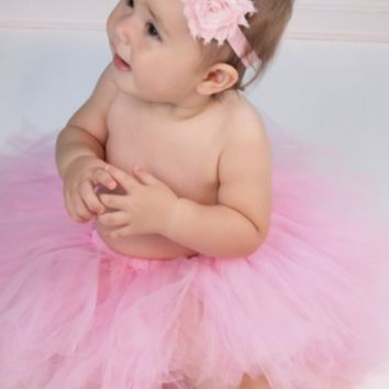 Pink Tulle Tutu and Flower Headband Photo Prop - CC576