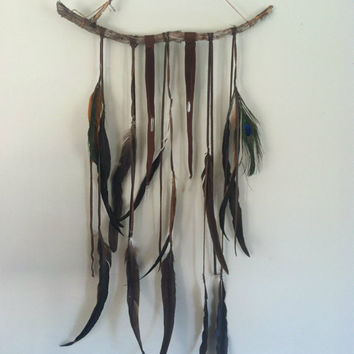 caravan. a bohemian feather wall hanging BROWN  //  spirit tribe,  dream catcher, home decor, boho