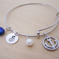 Personalized Initial Anchor Freshwater Pearl Silver Adjustable Bangle Bracelet / Gift for Her
