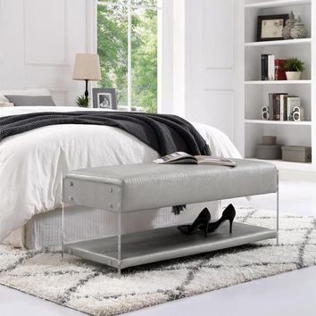 Gilbert Silver Croc Leather Bench - Acrylic Sides | Bottom Shelf | Living Room, Entryway, Bedroom