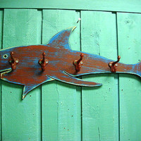 Shark Hook Coat Rack Sign Beach House Decor Wall Art With 5 Hooks by CastawaysHall