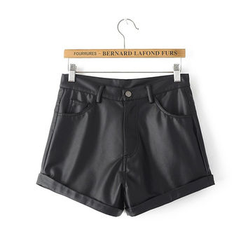 2016 Autumn Winter Women Shorts Leather Shorts Black Short Pant Ladies Fashion Slim Temperament Bootcut Ladies Shorts  AI079