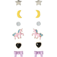 Pink Unicorn & Purple Bow Stud Earring Set