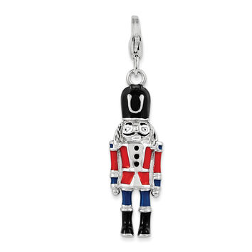 Sterling Silver 3-D Enameled Nut Cracker w/Lobster Clasp Charm QCC1056