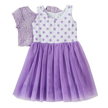 Knitworks Polka-Dot Dress & Crochet Shrug Set - Toddler Girl, Size: