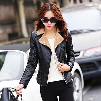 Women's motorcycle leather jacket blazers 2017Spring leather cashmere Small Jacket ladies Skinny locomotive keep warm blazers