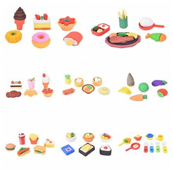 New 5 or 6pcs french Dessert Ice Cream Circle Bread Malone Eraser/removable Rubber Polishing/erasers kawaii pencil Food eraser