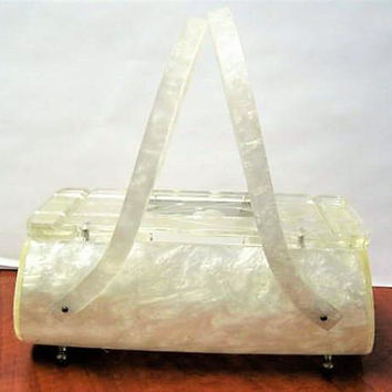Vintage Rialto Purse, White Lucite, Clear Etched Top, Party Purse, 50s Purse