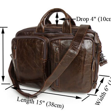 Real Vintage Leather Men's Laptop Bag Briefcase Messenger Backpack Bag