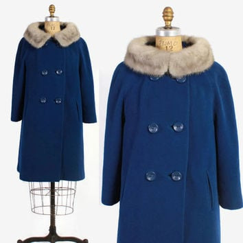 Vintage 60s Winter Coat / 1960s Royal Blue Wool Coat with Wide Sapphire Mink Fur Collar