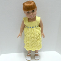 "American Girl Clothes - 18"" Doll Apparel - Hand Knit Yellow Dress - Lace Dress"
