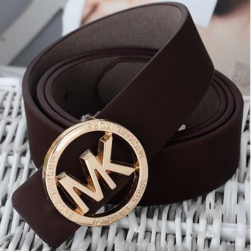 MK 2018 new wild casual unisex smooth buckle belt F0724-1 coffee