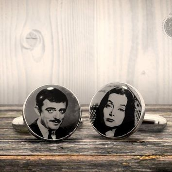 Cufflinks - The Addams Family  - Gomez and Morticia tv series Cuff Links