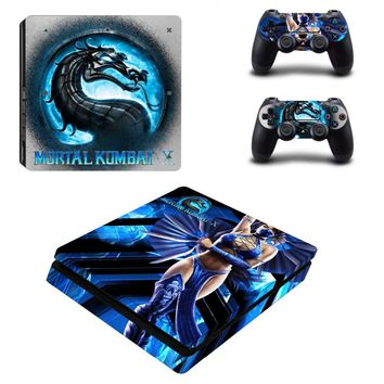 Mortal Kombat Vinyl Cover Decal PS4 Slim Skin Sticker for Sony Playstation 4 Console and 2PCS Design Stickers of Controller