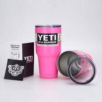Yeti Cooler Stainless Steel Insulation Cup Yeti Tumbler Rambler 30OZ Cups Cars Beer Mug Large Capacity Travel Coolers Pink Cup