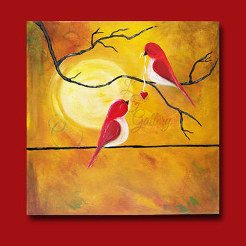 Original Canvas Painting Love Birds Painting Bird on a Wire Painting Valentine Painting Valentines Art Love Painting Red Birds Art Wall Art