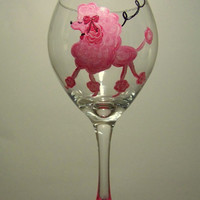 Hand Painted Valentine Pink Poodle Wine Glass