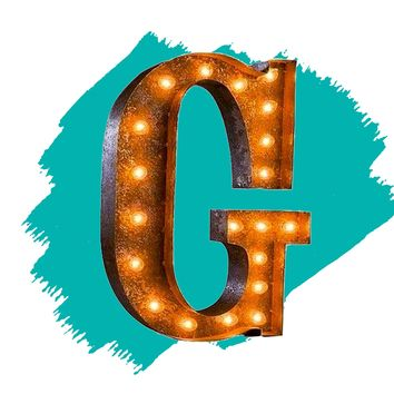 "24"" Letter G Lighted Vintage Marquee Letters (Rustic)"