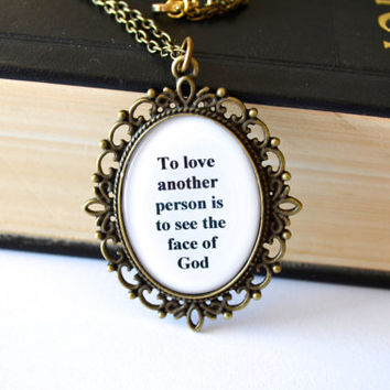 Les Miserables necklace. Love quote jewelry. Long chain. Antique bronze. Religious, musical, movie inspired.