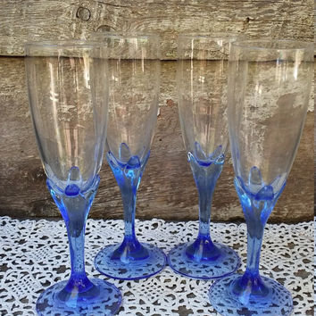 Tall Stemware Glasses, Tall Clear and Blue Glasses, Champagne Glasses, Holiday, Entertaining, Kitchen, Drinking Glasses, Wine, Mimosa