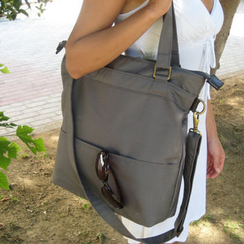 Tote cotton canvas shoulder bag in gray /laptop tote by Laroll