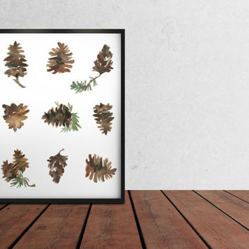 Watercolor print Pine cones poster Botanic painting Modern home decor