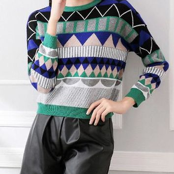 Womens Printed Sweater - Retro Style 80s / Geometric